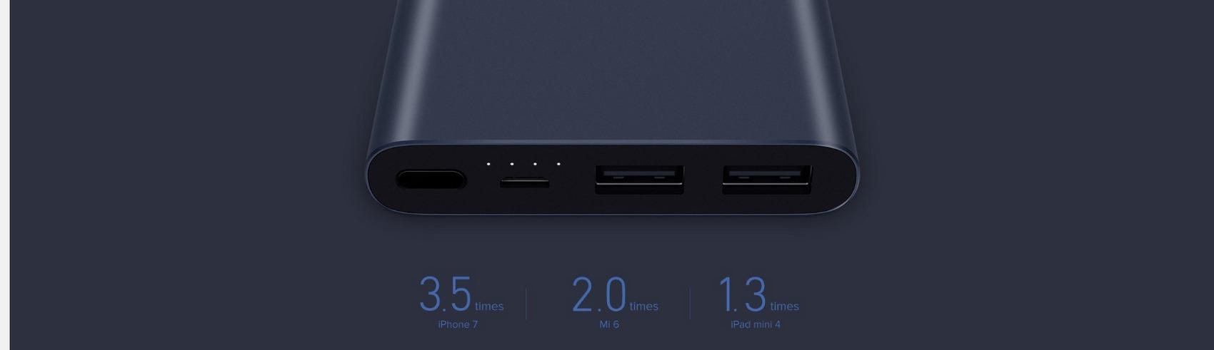 Xiaomi Mi 10000mAH Power Bank 2S Daul USB Quick Charge 3.0 Silver - Larger Capacity