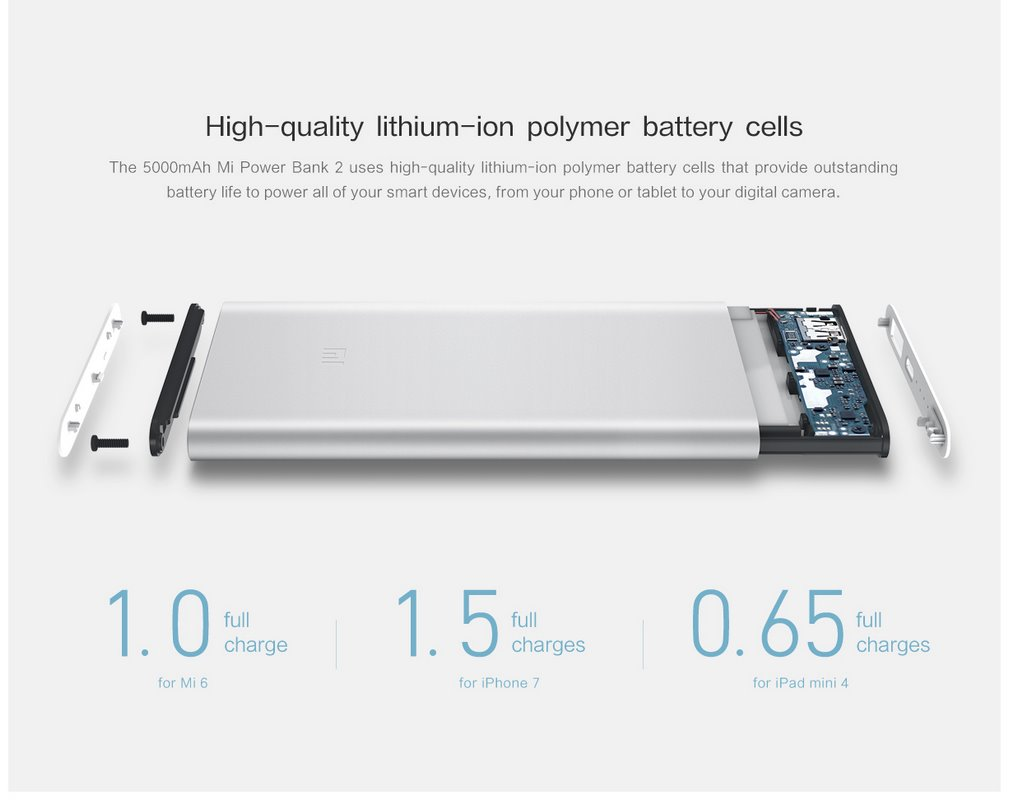 Xiaomi Mi 5000mAh Power Bank 2 - High Quality Lithium-ion battery