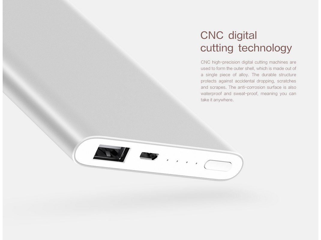 Xiaomi Mi 5000mAh Power Bank 2 - High Precision CNC Cutting