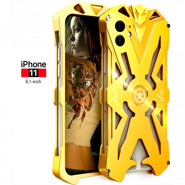 Apple iPhone 11 Aviation Aluminum Alloy Shockproof Armor Metal Case Cover - Gold
