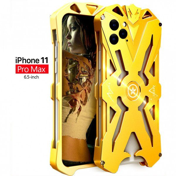 Apple iPhone 11 Pro Max Aviation Aluminum Alloy Shockproof Armor Metal Case Cover - Gold