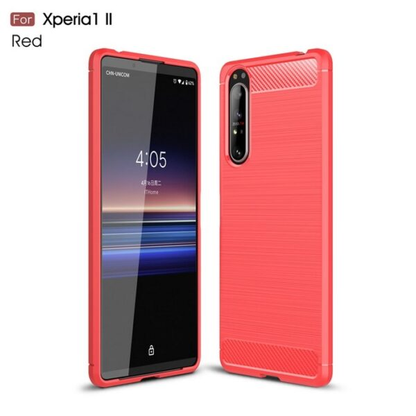 Sony-Xperia-1-II-Case-Silicone-Rugged-Armor-Soft-Cover-Case (RED)