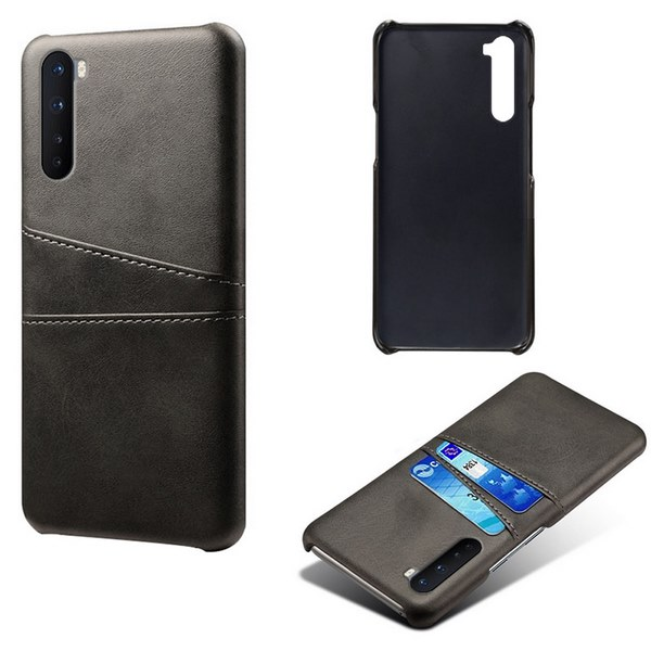Oneplus-Nord-Luxury-Card-Holder-Hard-PC-Leather-Wallet-Case (Black)
