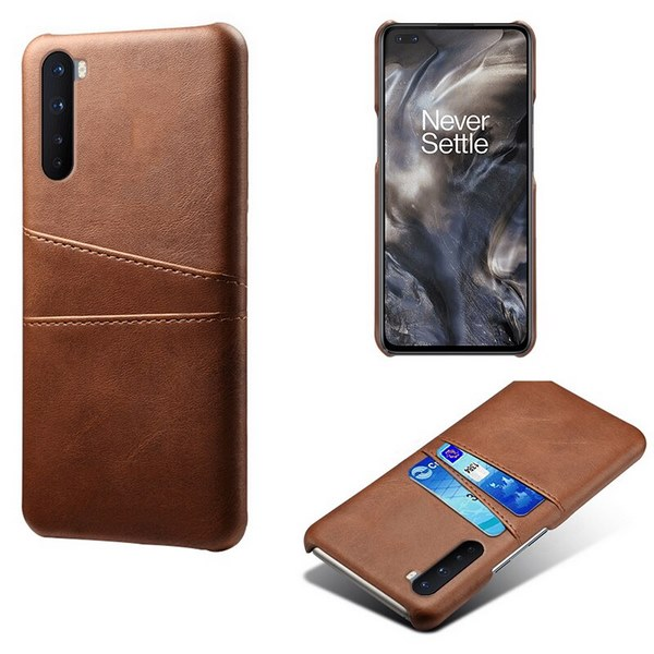 Oneplus-Nord-Luxury-Card-Holder-Hard-PC-Leather-Wallet-Case (Brown)
