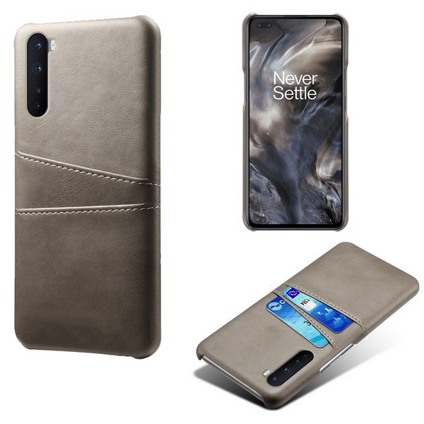 Oneplus-Nord-Luxury-Card-Holder-Hard-PC-Leather-Wallet-Case (Gray)