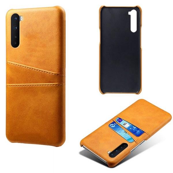 Oneplus-Nord-Luxury-Card-Holder-Hard-PC-Leather-Wallet-Case (Khaki)