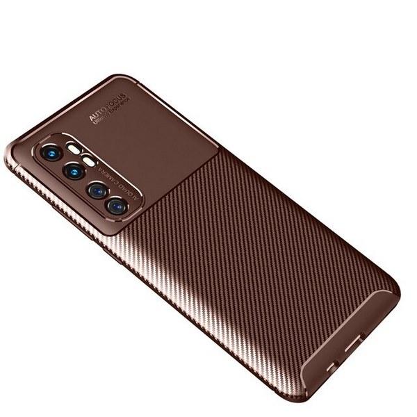Xiaomi-Mi-Note-10-Lite-Cover-Slim-Soft-TPU-Carbon-Fiber-Back-Cover (Brown)