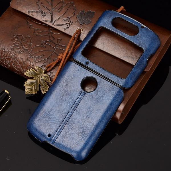 Motrola Razr 5G Leather Case Blue