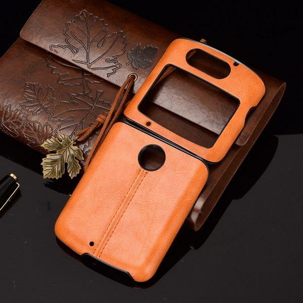 Motrola Razr 5G Leather Case Orange
