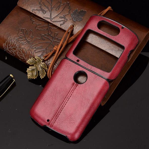 Motrola Razr 5G Leather Case Red
